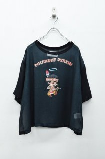 bedsidedrama メタリックシフォンTシャツ - インディアンキューピッド - BLACK