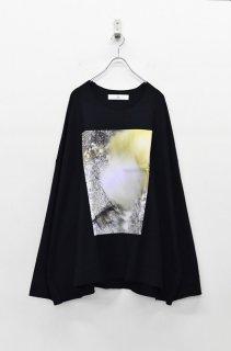 BALMUNG プリントビッグTシャツ 長袖 - 隙間 BLACK