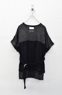 bedsidedrama コルセットTシャツ - BLACK