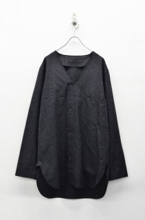 My Beautiful Landlet フランネルVネックシャツ - CHARCOAL