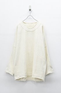 YANTOR Tumugi cotton stitch pullover - OFF WHITE