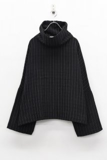 yoko sakamoto GAUZE HIGH NECKED PULLOVER - BLACK