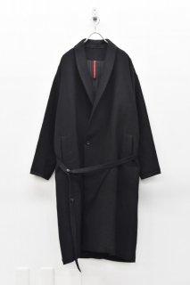 YANTOR Cotton Linen Wool Gown Coat - BLACK