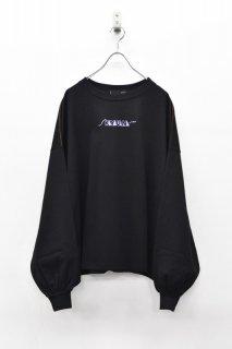 youmolaugh / 刺繍ワイドショルダーTシャツ - BLACK
