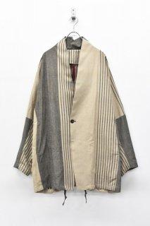 YANTOR / Stripe Khadi Cotton Merge Jacket - BEIGE