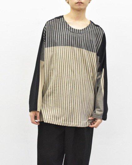 YANTOR / Stripe Khadi Cotton Merge Pullover - BEIGE