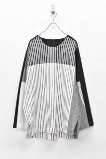 YANTOR / Stripe Khadi Cotton Merge Pullover - WHITE