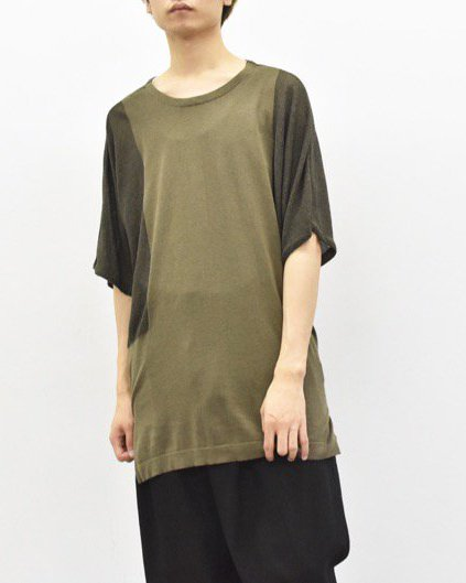 YANTOR / Hige Gauge Cotton Knit Cut&Sewn - KHAKI / BLACK