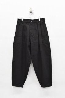 YANTOR / Denim 1 tuck Pants - BLACK / GREEN