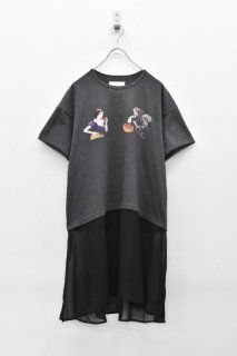 bedsidedrama / スノーホワイトベールTシャツ - CHARCOAL
