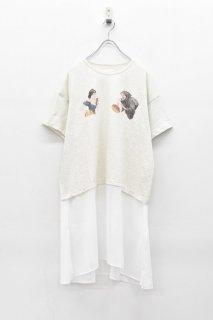 bedsidedrama / スノーホワイトベールTシャツ - OATMEAL