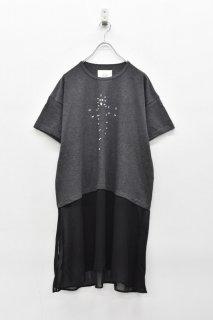 bedsidedrama / ドットゴーストベールTシャツ - CHARCOAL
