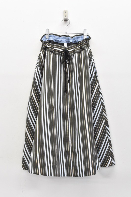 sneeuw / ストライプドロースカート - BLACK