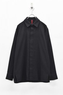 YANTOR / Amunzen Cotton Fly Front Shirts - BLACK
