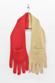 INFANONYMOUS / Hand Knit Scarf - BEIGE*RED