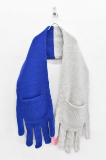 INFANONYMOUS / Hand Knit Scarf - GREY*BLUE