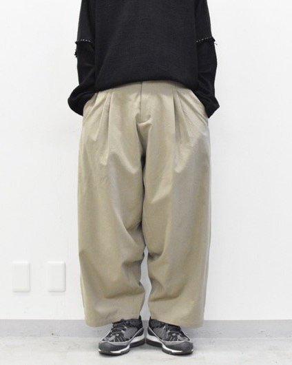 YANTOR / Wash Wool 2tuck Wide Pants - BEIGE