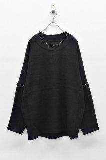 YANTOR / Herringbone Khadi Stitch Pullover  - BLACK
