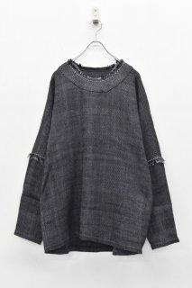 YANTOR / Herringbone Khadi Stitch Pullover  - NAVY