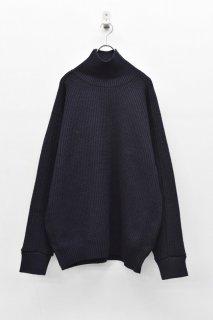 YANTOR / 7G Wool Turtle Wide Knit  - NAVY