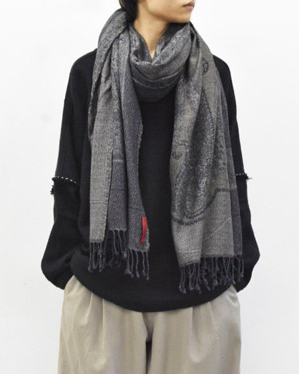 YANTOR / Paisley Jacquard Wool Stole  - NAVY