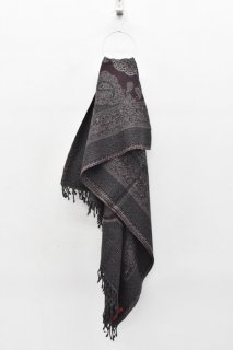 YANTOR / Paisley Jacquard Wool Stole  - PURPLE