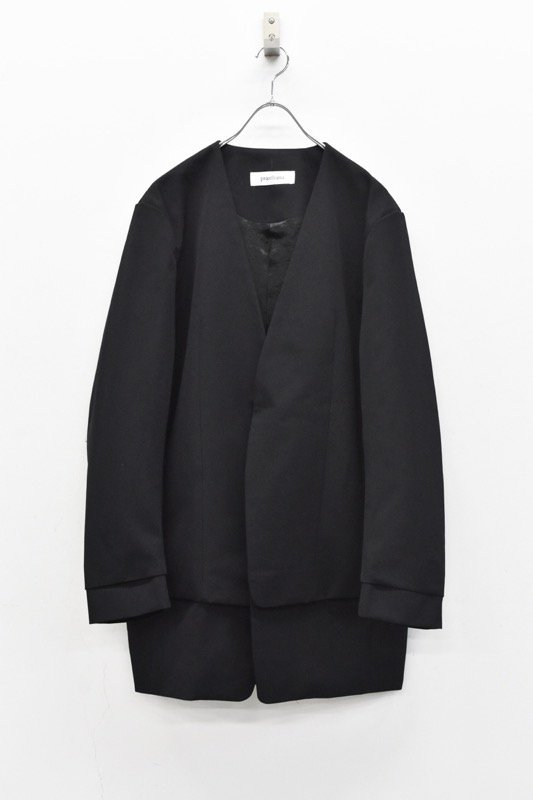 prasthana / 残響 lapel less long jacket - BLACK