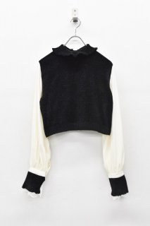YUKI SHIMANE / Bishop Sleeve Knit Top - BLACK