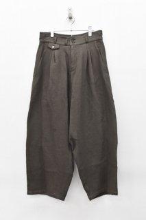 YANTOR / Cotton Linen 2tuck Wide Pants - CHARCOAL