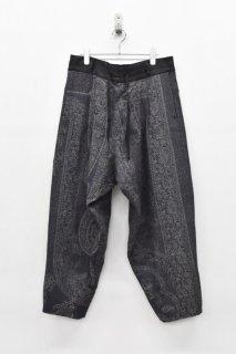 YANTOR / Paisley Jacquard Wool Himo Psnts - NAVY