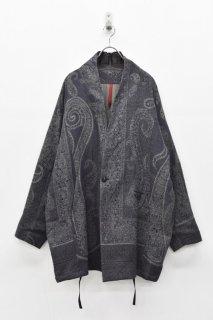 YANTOR / Paisley Jacquard Wool Fall Jacket - NAVY