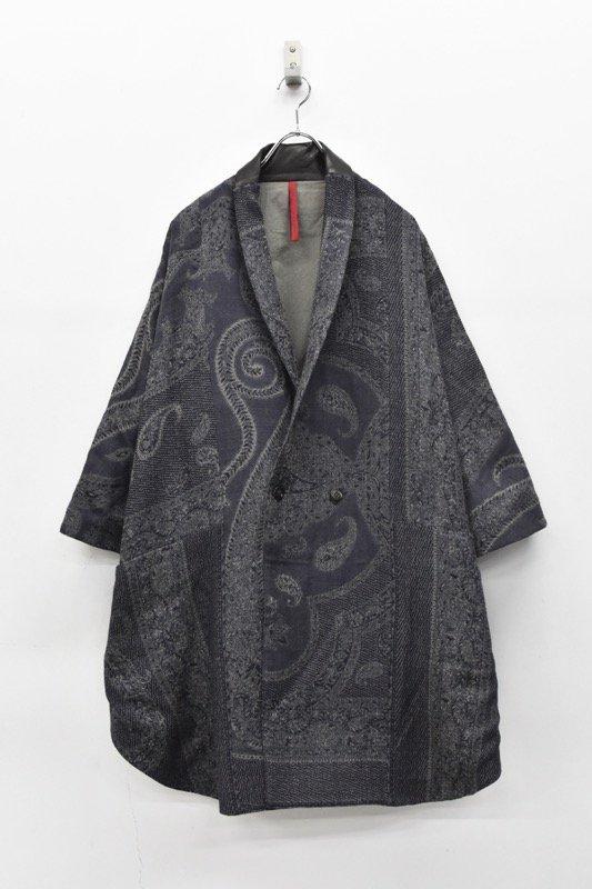 YANTOR / Paisley Jacquard Wool Kesa Coat - NAVY