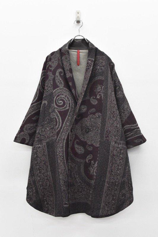 YANTOR / Paisley Jacquard Wool Kesa Coat - PURPLE
