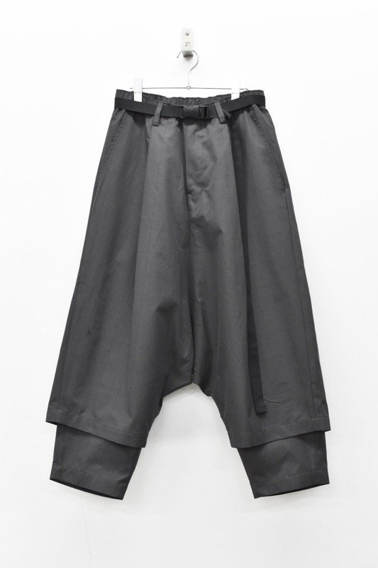 prasthana / 残響 belted wide trousers - BLACK