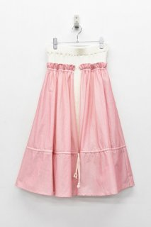 YUKI SHIMANE / Side Layered Rib Skirt - WHITE