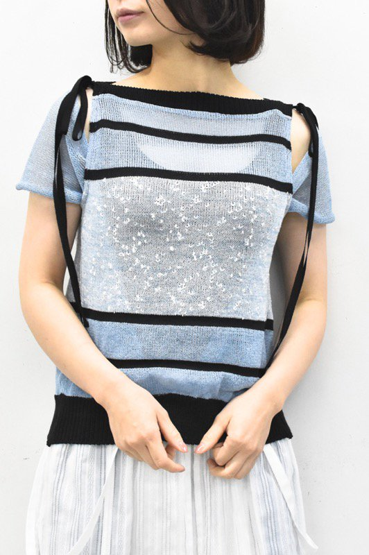 YUKI SHIMANE / Border Knit short top - BLUE