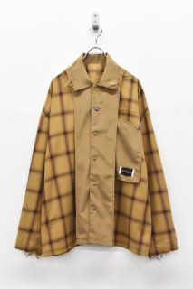 elephant TRIBAL fabrics / INSIDE OUT CHECK SHIRT - CAMEL