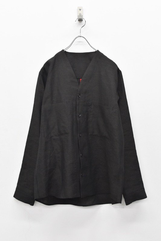 YANTOR / Linen wool No collar Shirts - BLACK