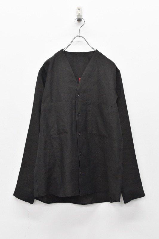 YANTOR / Linen wool No collar Shirts - BLACK