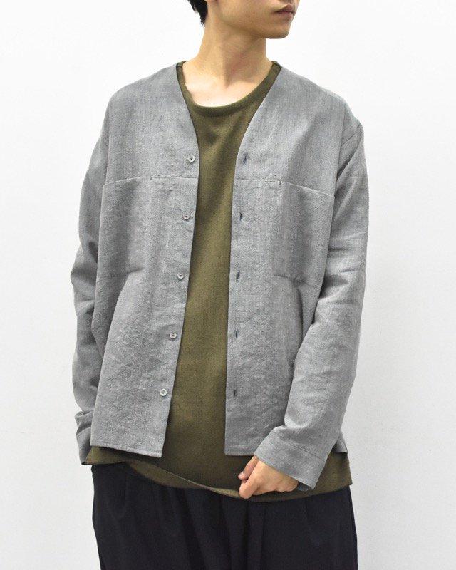 YANTOR / Linen wool No collar Shirts - SAX BLUE