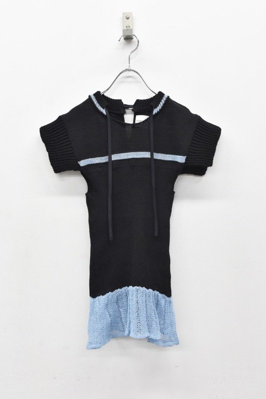 YUKI SHIMANE / Cotton mesh Knit top - BLACK