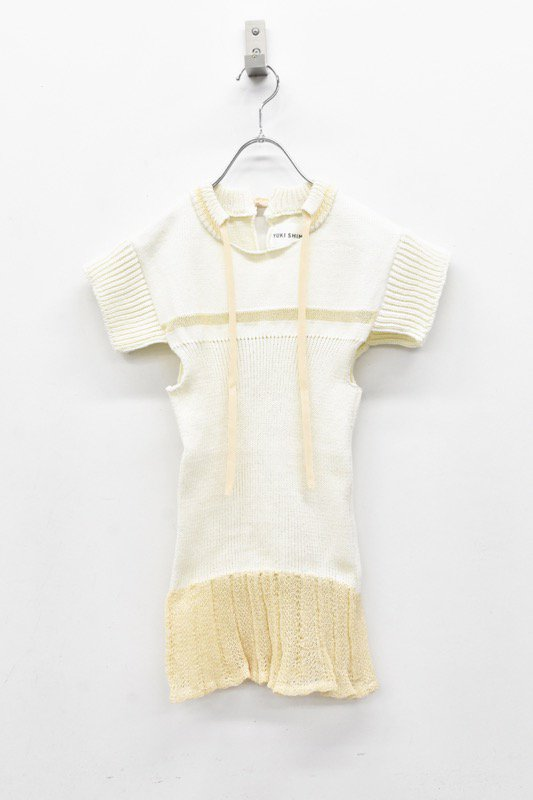 YUKI SHIMANE / Cotton mesh Knit top - WHITE