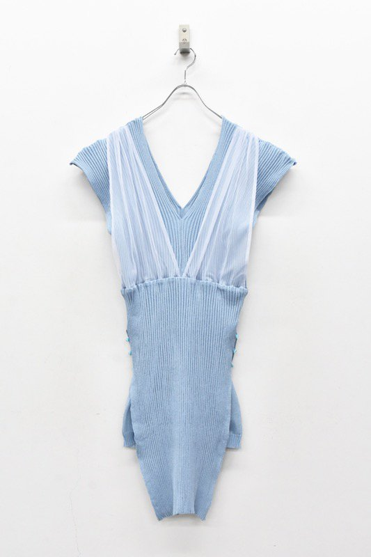 YUKI SHIMANE / Rib Layered Knit dress - BLUE