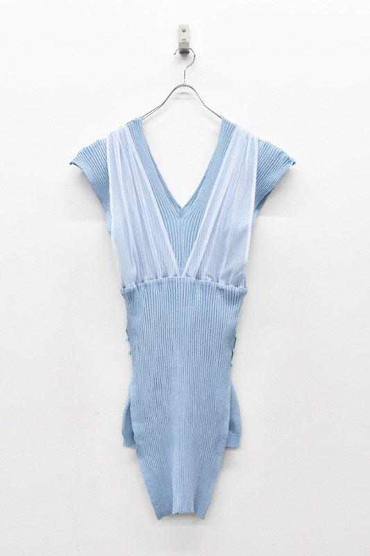YUKI SHIMANE / Rib Layered Knit dress - BLUE
