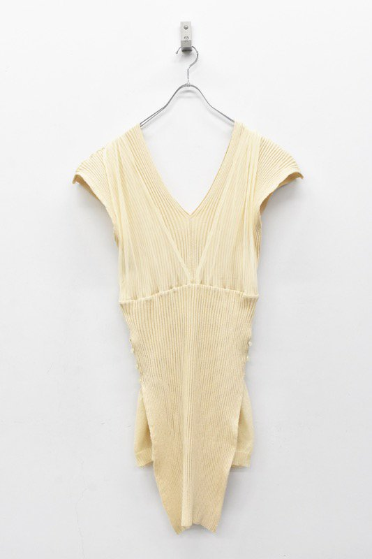 YUKI SHIMANE / Rib Layered Knit dress - BEIGE