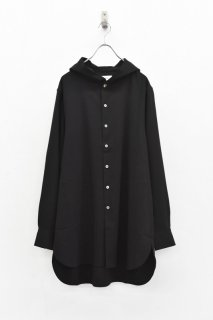 prasthana / strings hooded shirt - BLACK
