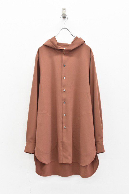 prasthana / strings hooded shirt - RED BROWN