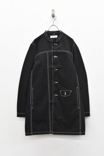 prasthana / white stitch work coat - BLACK