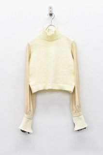 YUKI SHIMANE / Bishop Sleeve Knit top - WHITE