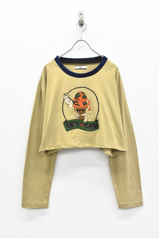 NON TOKYO / 刺繍ロングTシャツ - BROWN